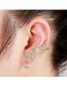 Cercel ear cuff aripioare lungi cu cristale la baza si fluturas