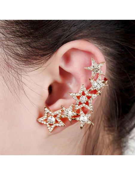 Cercel ear cuff stelute pe toata urechea, cu cristale mari rotunde