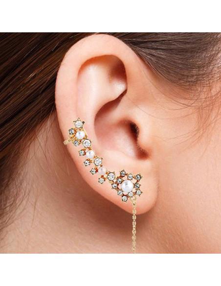 Set cercel ear cuff stelute cu perle si cristale, cu un lantisor lung