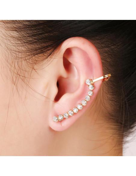 Cercel ear cuff rand lung de cristale albe arcuit pe ureche