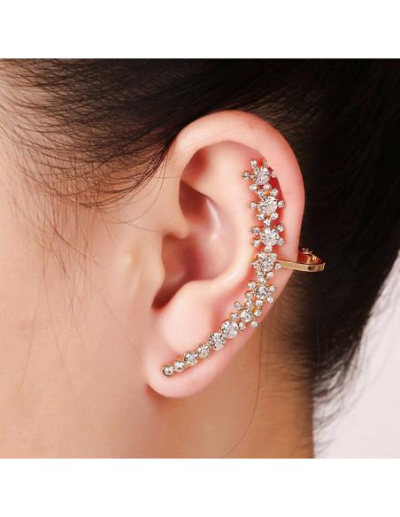 Cercel ear cuff flori delicate si mici arcuite pe ureche