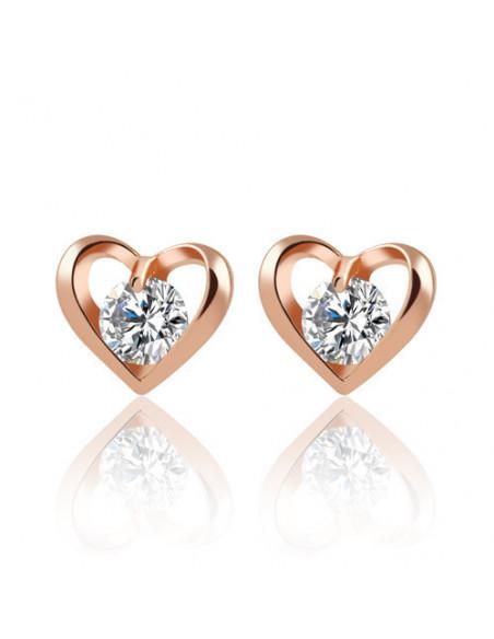 Cercei minimal eleganti, inimi mici cu zirconii cubice albe