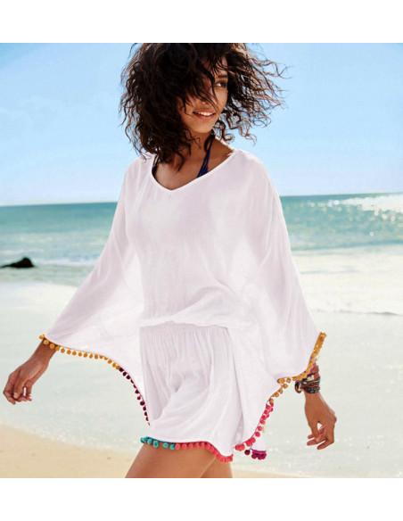Bluza bohemian alba de plaja, cu bordura din ciucuri multicolori