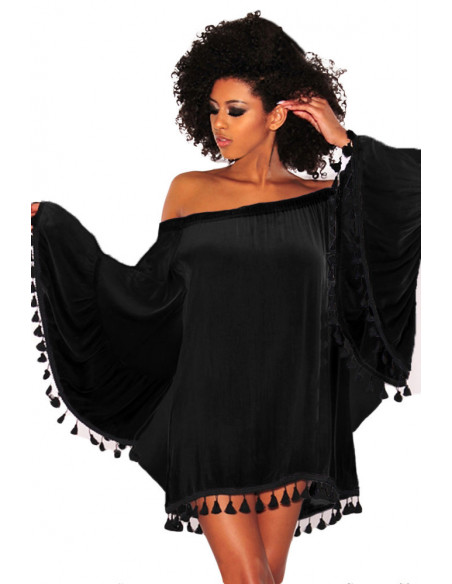 Bluza bohemian de plaja, cu bordura de ciucuri negri rotunzi