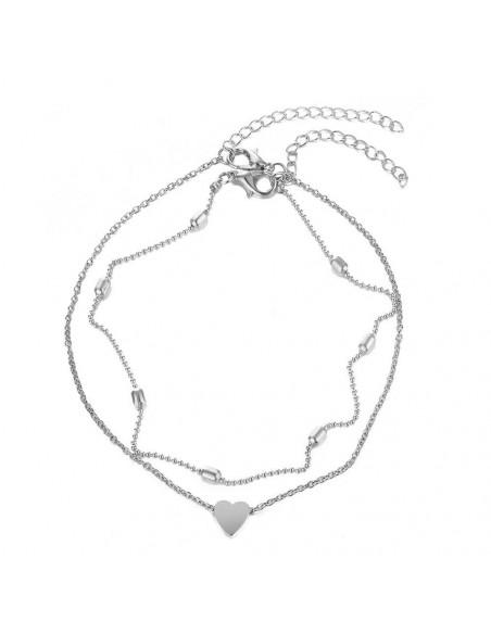 Bratara pentru glezna cu lantisor subtire dublu, cu bilute si inimioara