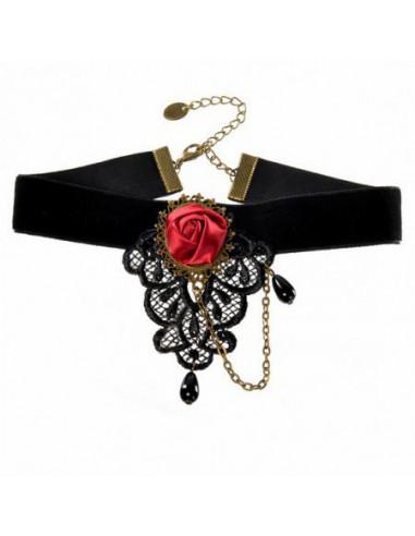 Colier choker din panglica de catifea neagra si trandafir visiniu