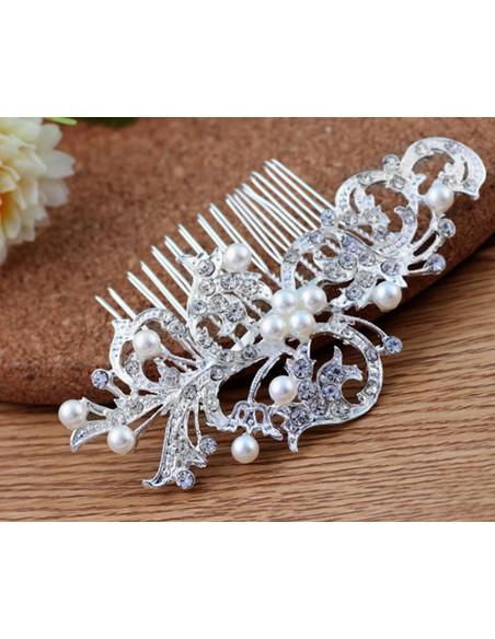 Pieptene de par pentru mireasa, ramuri ondulate cu perle si cristale