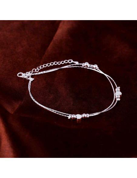 Bratara pentru glezna, placata cu argint, cu bilute si inimioare