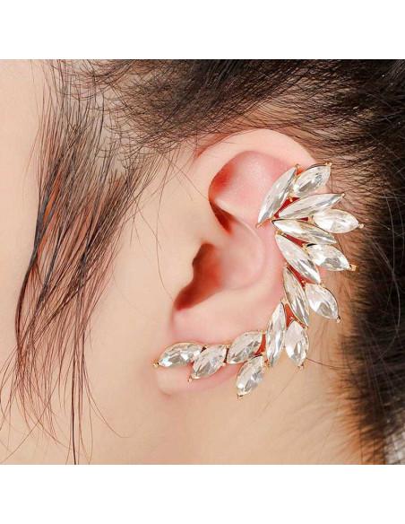Cercel ear cuff statement, Arctic Fox, cu cristale albe ascutite