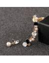 Set cercei ear cuff cu cristale albe, negre si perle