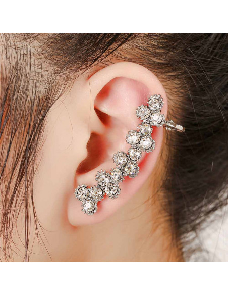 Cercel ear cuff lung, cu cristale rotunde in zig-zag