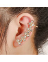 Cercel ear cuff lung, cu cristale rotunde in zig-zag
