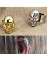 Cercei tip ear cuff, cap mic de schelet cu zambet larg, prindere pe ureche, reglabil
