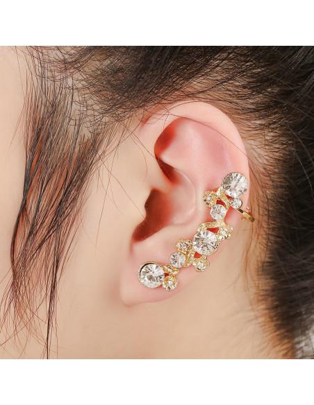Cercel ear cuff elegant, cu flori mici si cristale rotunde