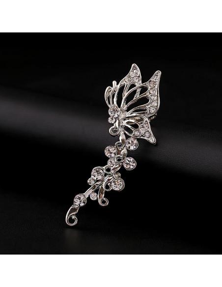 Cercel ear cuff fluture pe ramurica, cristale rotunde albe