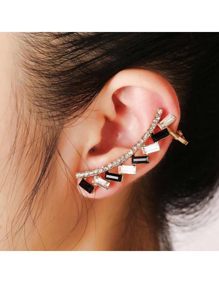 Cercel ear cuff luxury cu cristale albe si negre dreptunghiulare