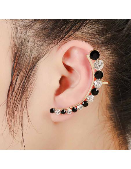 Cercel ear cuff luxury arcuit cu cristale albe si negre rotunde