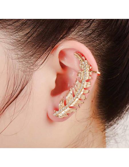 Cercel ear cuff frunza arcuita pe ureche cu cristale mici pe mijloc