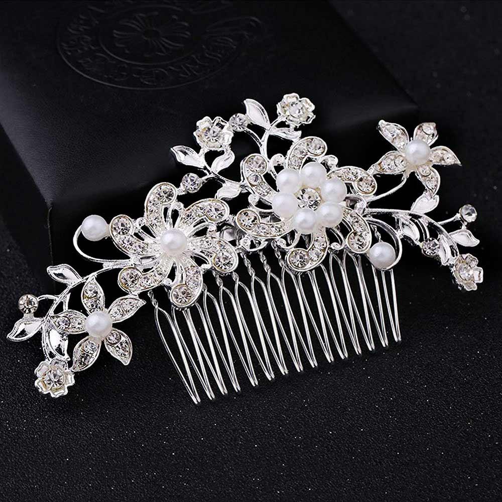 Pieptene de par pentru mireasa, ramura cu flori, perle si cristale
