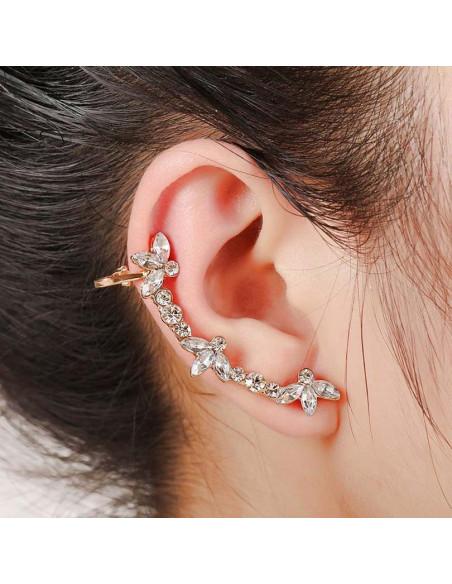 Cercel ear cuff cu cristale si flori cu trei petale