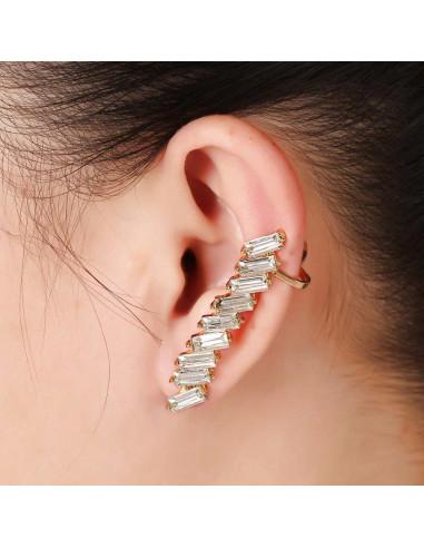 Cercel ear cuff elegant, cu cristale albe dreptunghiulare