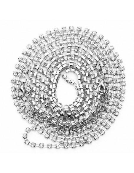 Lant de corp din doua lantisoare lungi incrucisate pe piept cu cristale