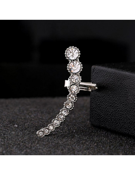 Cercel ear cuff elegant, 12 cristale albe rotunde