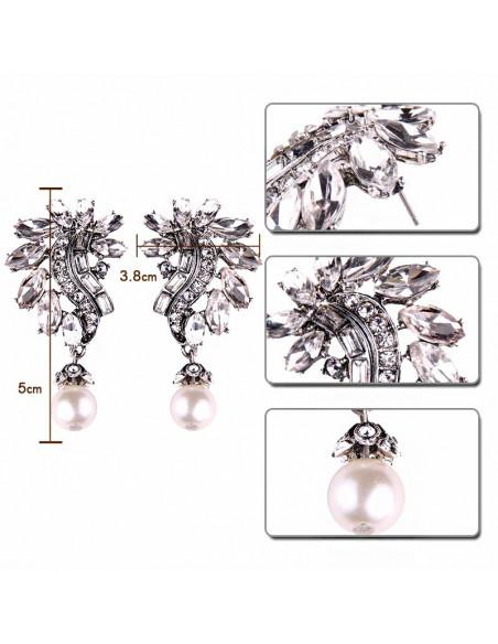Cercei luxury Winter Wedding, cu cristale albe si perla