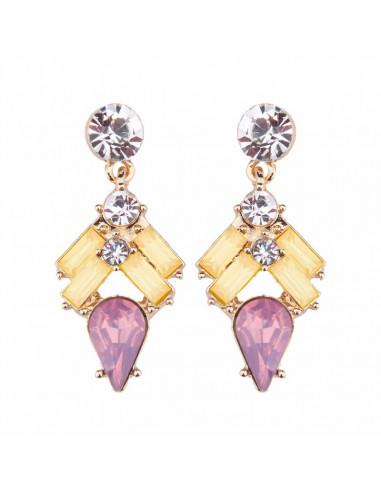 Cercei eleganti aurii, Pretty Princess, cristale dreptunghiulare fatetate