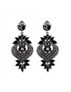 Cercei luxury L'Été indien, cu cristale stralucitoare si flori