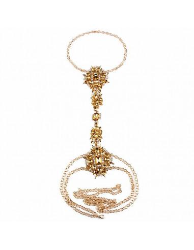 Lant de corp luxury, lanturi aurii si cristale albe cu reflexii colorate