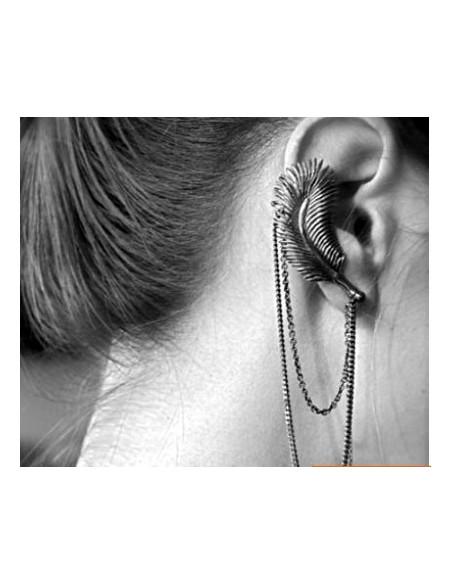 Cercei tip ear cuff, pana cu lantisor dublu, prindere dubla, pe ureche