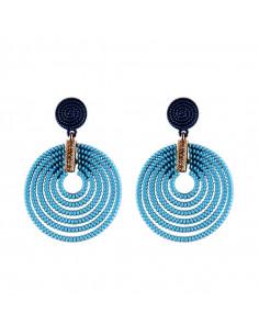 Cercei rotunzi colorati, 6 cercuri concentrice si cristale