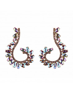Cercei luxury Fish Hook, arcuiti, cu cristale cat-eye multicolore