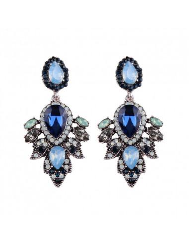 Cercei luxury Fairy Dust, cristale picatura si petale de flori