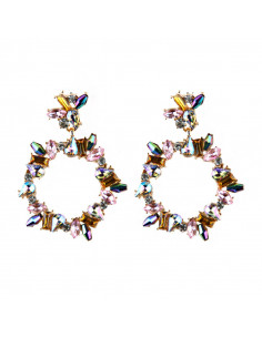 Cercei luxury Crystal Hoola, rotunzi, cu cristale fatetate multicolore