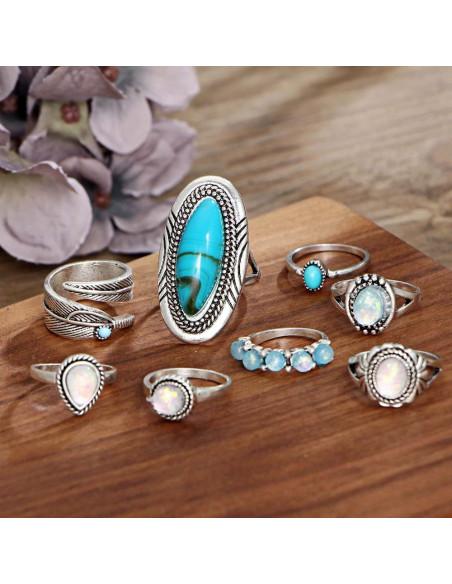 Set 8 inele indiene cu inel lung piatra turcoaz si margele sidefate