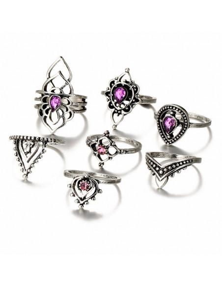Set 7 inele indiene filigranate, cu cristale mov picatura