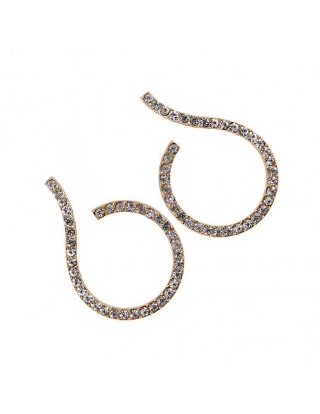 Cercei luxury Question Mark, arcuiti, cu cristale mici albe