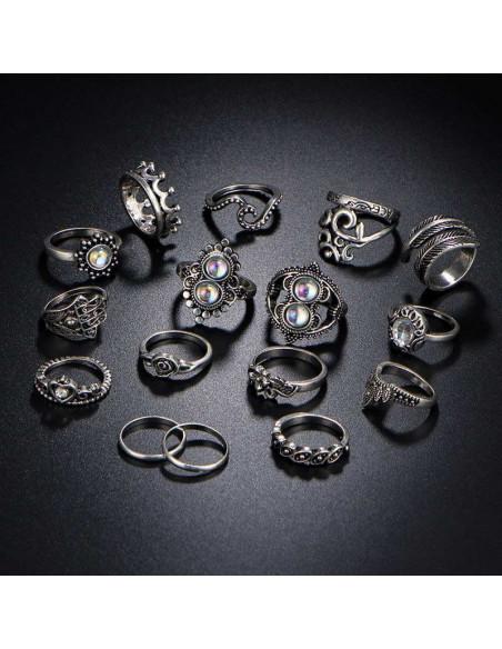 Set 16 inele indiene modele variate cu margele opalescente, coroana, hamsa