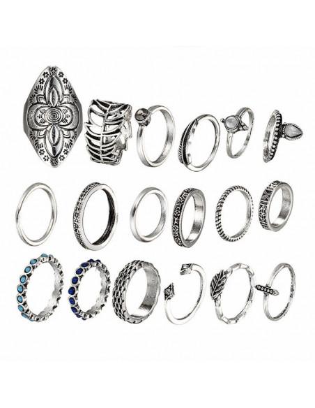 Set 18 inele indiene modele variate cu margele turcoaz, albastre si frunze