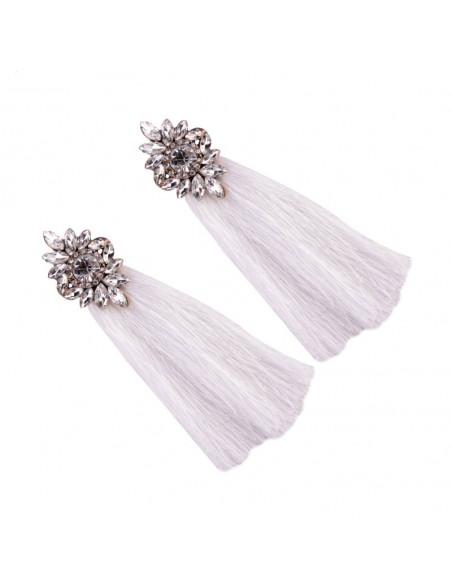 Cercei statement Lady Christine, flori din cristale si canafi lungi