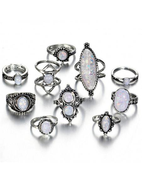 Set 10 inele etnice cu margele opalescente, lung pe deget, dublu sau cu flori