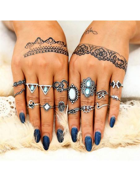 Set 16 inele etnice cu margele opalescente si turcoaz, flori, ochiul lui Horus si hamsa