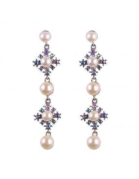Cercei eleganti Sea of Japan, 5 perle mari si cristale multicolore
