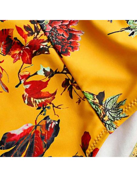 Costum de baie vintage, slip inalt galben cu flori si sutien bandeau