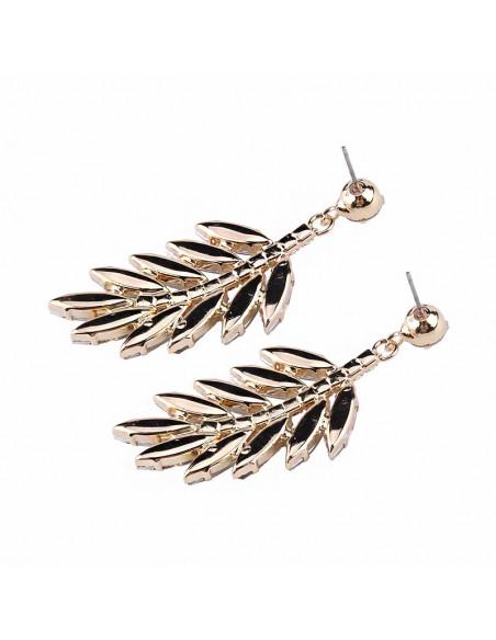 Cercei eleganti Gold Acacia, frunze mari din cristale cat-eye