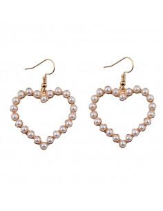 Cercei eleganti, inimioare mari decorate cu perle albe