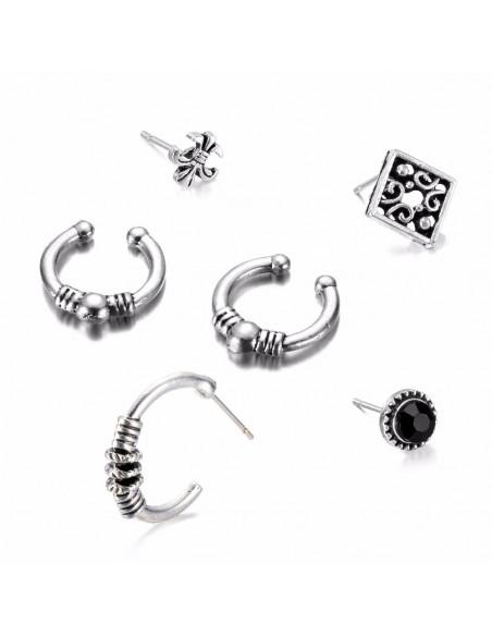 Set cercei si ear cuff Fleur de Lis, romb, cristal negru si cercuri