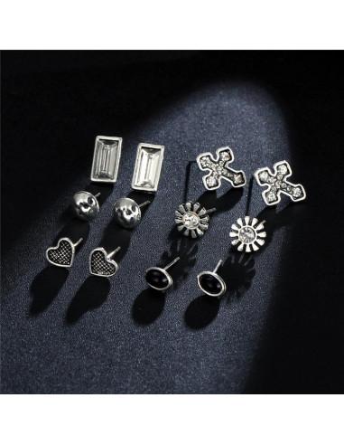 Set 6 perechi de cercei vintage, inimioare, cruci, flori si cristale